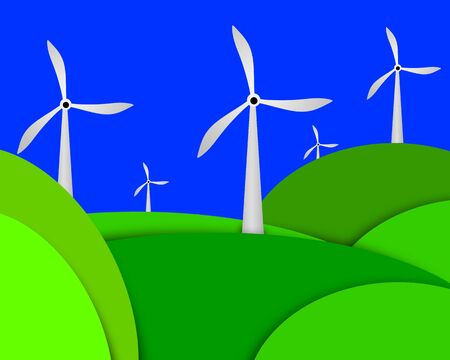 generating: Illustration of wind turbines farm generating electricity Stock Photo