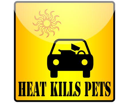 Heat kills pets warning sign.