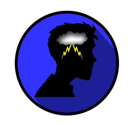 mental confusion: Depression concept icon.