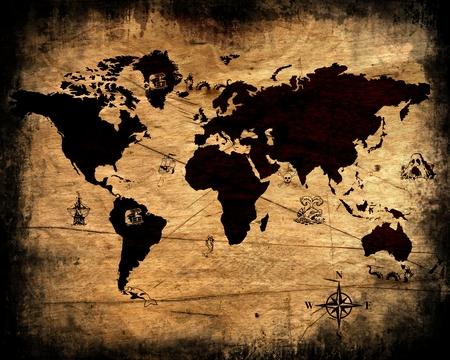 carte trésor: Old grunge carte du monde. Banque d'images