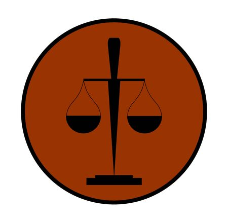 lawless: Sword and scales of justice icon. Stock Photo