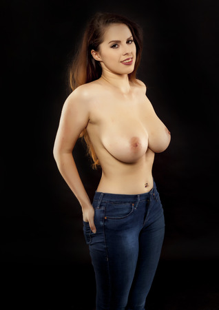 breasts: Sexy topless woman. Stock Photo
