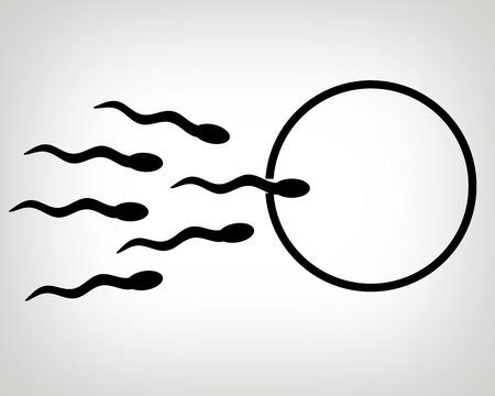 Sperm and egg cell illustration.