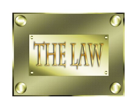barrister: The law illustration golden plate.