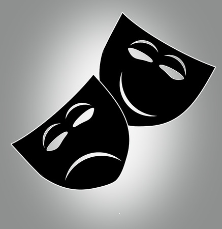 theatre masks: Theatre icon with happy and sad masks.