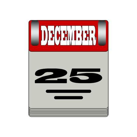 25 december: Christmas Day Calendar Icon. 25 December.