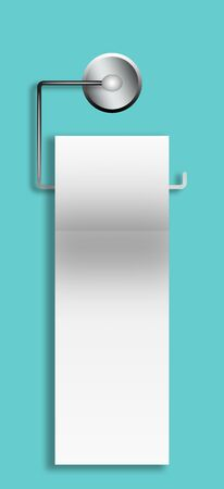 toilet roll: A roll of white toilet paper hanging on a chrome toilet roll holder over a blue background.