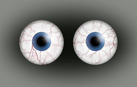 eyes wide open: Blood shot eyes.
