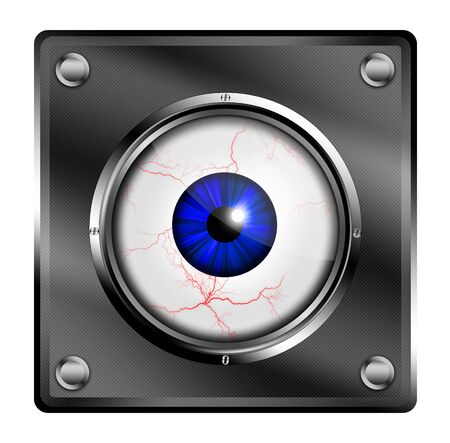 see a doctor: Eye illustration button. Stock Photo