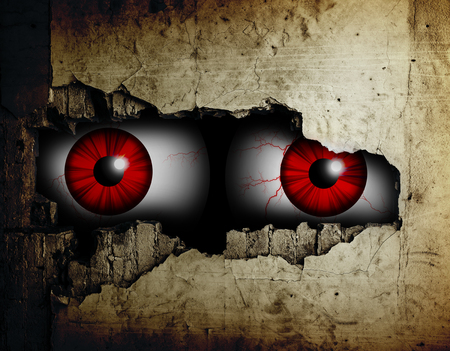 Scary eyes of a man spying through a hole in the wall.