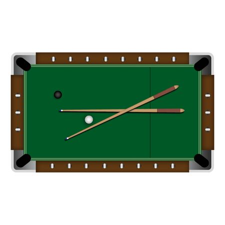 pocket billiards: Pool table illustration over a white background. Stock Photo