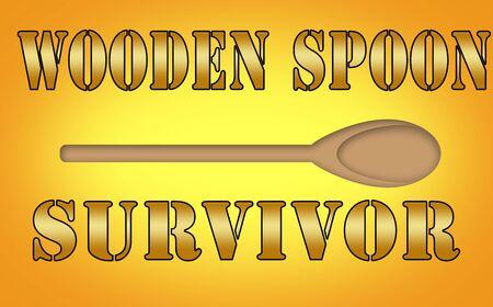 wooden spoon: Fun wooden spoon survivor sign. Stock Photo