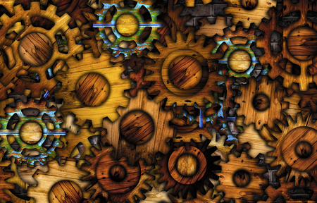 technology symbols metaphors: Abstract wooden gear background.