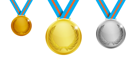 official record: Gold silver and bronze medals over a white background.
