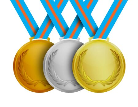 Gold silver and bronze medals over a white background.