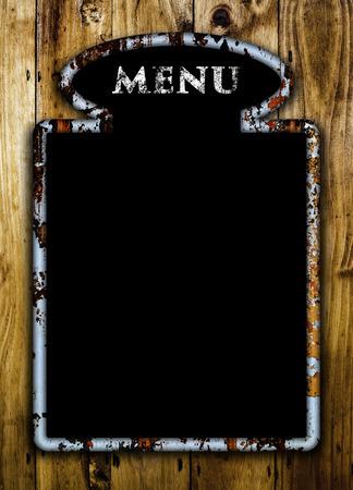 black empty board: Blank menu board on a wooden wall.