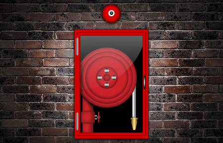 Illustration of a fire hose against a brick wall.
