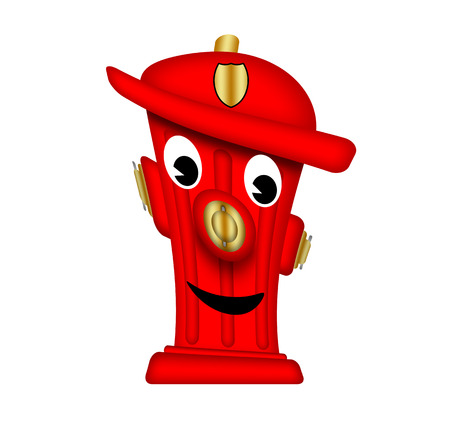hydrant plug: Friendly fire hydrant with a happy expression. Stock Photo