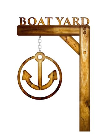 yard sign: Wooden boat yard sign over a white background. Stock Photo