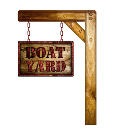 Wooden Boat Yard Sign Over A White Background. Stock Photo, Picture ...