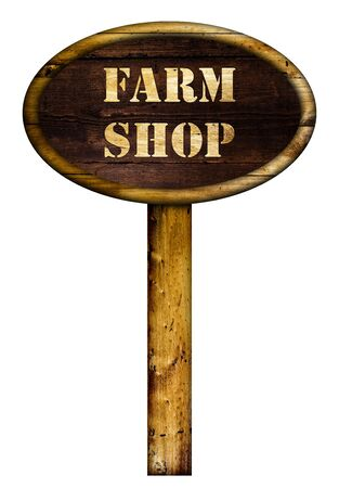 farm shop: Wooden farm shop sign over a white background. Stock Photo