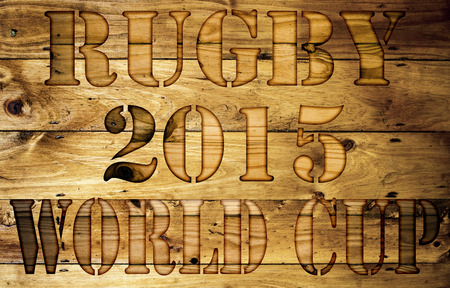 Abstract Rugby World Cup wooden background. Stock Photo