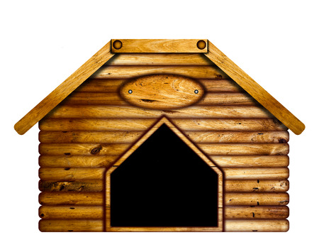 dog house: Wooden dog house over a white background.