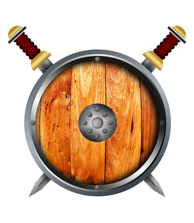 crusades: Medieval shield and sword over a white background. Stock Photo