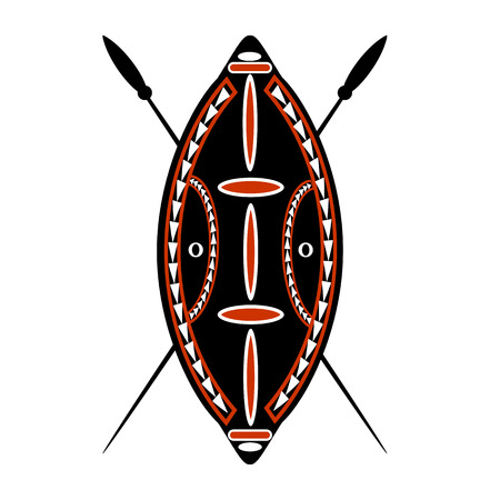 African warrior shield and spear over a white background.