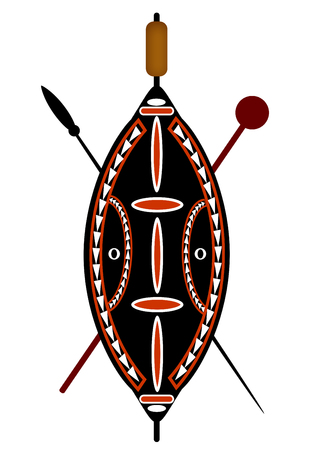 african warriors: African warrior shield and spear over a white background.