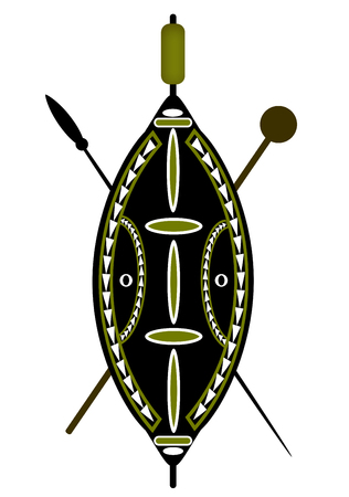 masai: African warrior shield and spear over a white background.