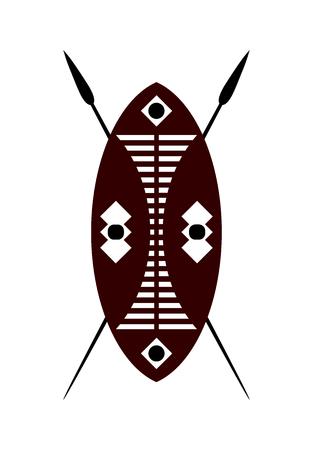 アフリカの戦士盾と白い背景の上の槍。