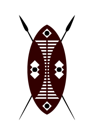 weaponry: African warrior shield and spear over a white background.