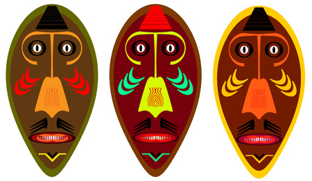 African war mask over a white background.