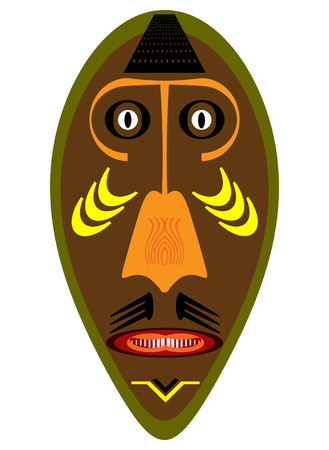 blockhead: African war mask over a white background.