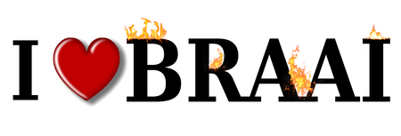south african: I love braai the South African word for a BBQ. Stock Photo