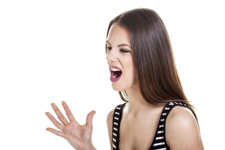 Woman shouting over a white background.