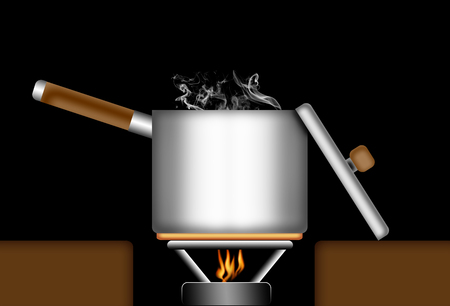 to boiling: Illustration of a boiling pot or sauce pan on a gas fire. Stock Photo