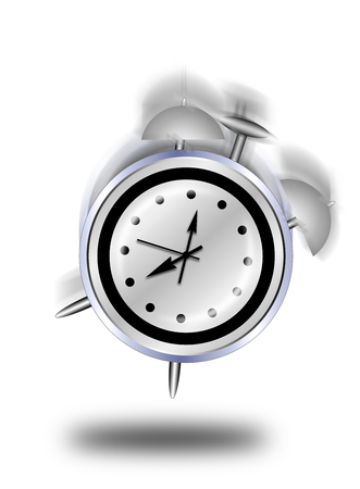 abstract alarm clock: Abstract illustration of a classic alarm clock ringing on white background. Stock Photo
