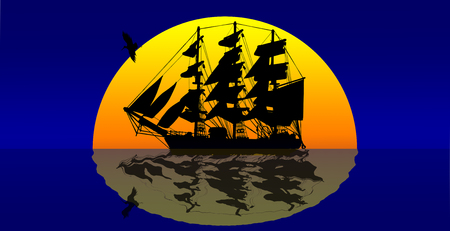 Sailing Ship on Sea in sunset background.