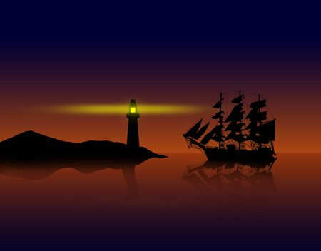 brig: Old ancient pirate ship on peaceful ocean at sunset near the coast.
