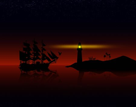 old ship: Old ancient pirate ship on peaceful ocean at sunset near the coast.