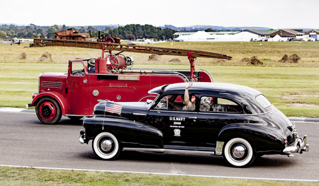 revival: The World War II 75th commemorative parade at the 2014 Goodwood Revival, Sussex, UK. Editorial