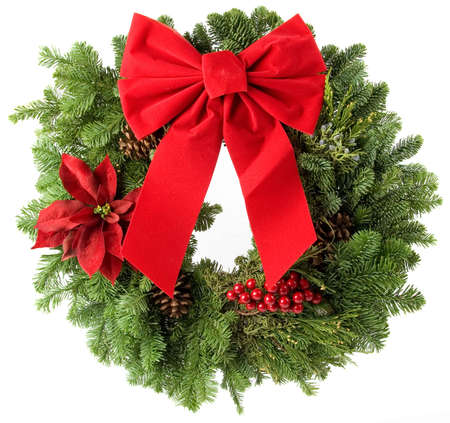 boughs: Christmas wreath made from real pine boughs isolated on white background
