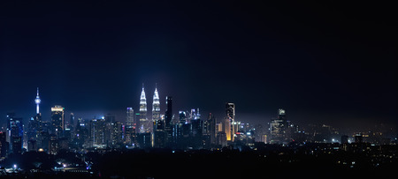 A panoramic aerial night scape of Kuala Lumpur city