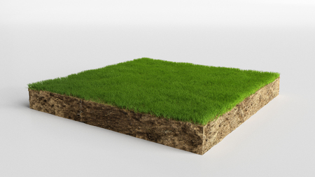 3D cubical grass land with soil geology cross section, 3D Illustration ground ecology isolated on white Zdjęcie Seryjne