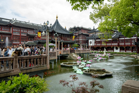 CHINA, Shanghai, 8th May 2019 - Yuyuan garden in shanghai koi fish pond tourist spot spring summer