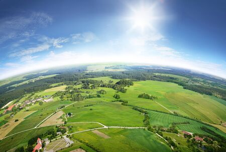 Aerial view the great countryside during summer day on background of white clouds blue sky Stockfoto