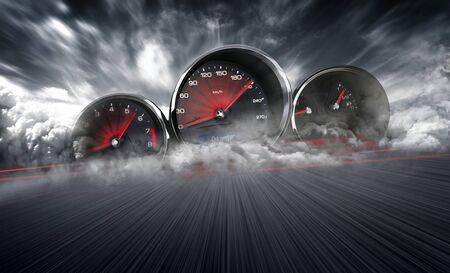 Snelheidsmeter die hoge snelheid scoort op een racebaanachtergrond met snelle bewegingsonscherpte. Snelheidsovertredingen Auto Achtergrond Foto Concept. Stockfoto