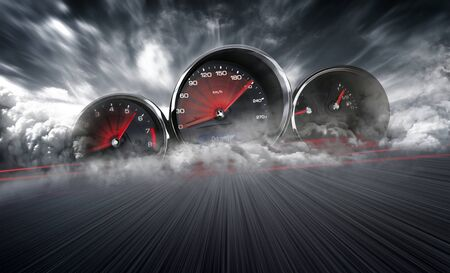 Speedometer scoring high speed in a fast motion blur racetrack background. Speeding Car Background Photo Concept. Standard-Bild